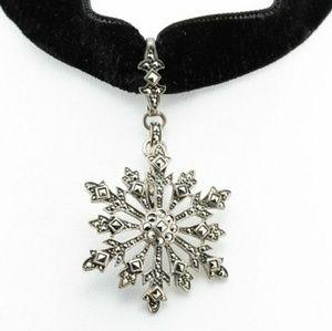 Suspicion Marquesite SnowFlake Velvet Choker